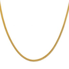 10K Yellow Gold 3mm Plain Hollow Franco Chain Necklace with Lobster Lock