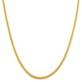 10K Yellow Gold 2mm Plain Hollow Franco Chain Necklace with Lobster Lock