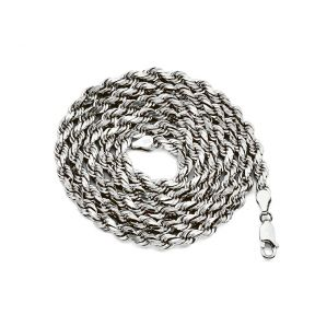 10K White Gold Diamond Cut Hollow Rope Chain Necklace (2mm to 5mm)