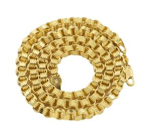 10K Yellow Gold 5.5mm Fancy Belcher Double Rolo Chain Necklace (20-26 inches)