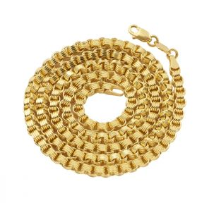 10K Yellow Gold 3mm Fancy Belcher Double Rolo Chain Necklace (Available from 18 - 24 inches)