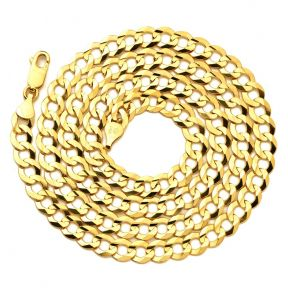 10k Yellow Gold Plain Solid Curb Cuban Necklace (3.5mm to 8mm)