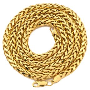 "10K Yellow Gold 5mm Wheat, Palm Chain Necklace with Lobster Lock (18"", 20"", 22"", 24"", 26"" 28"", 30"")"