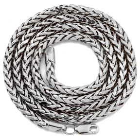 "10K White Gold 4mm Palm Open Hollow Wheat Chain Necklace with Lobster Lock (18"" to 30"")"