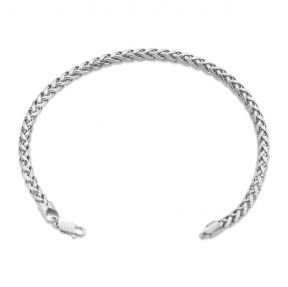 10k White Gold 4mm Wheat, Palm Chain Bracelet with Lobster Lock