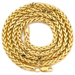 "10K Yellow Gold 4mm Wheat, Palm Chain Necklace with Lobster Lock (18"" to 30"")"