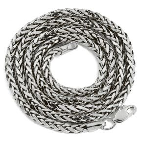 "10K White Gold 3mm Palm Open Hollow Wheat Chain Necklace with Lobster Lock (18"" to 30"")"