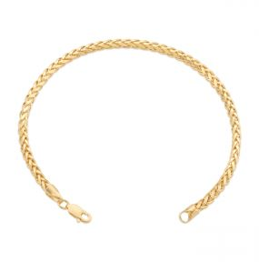 14K Yellow Gold Palm Wheat Chain Bracelet with Lobster Lock (2.5mm-3mm)