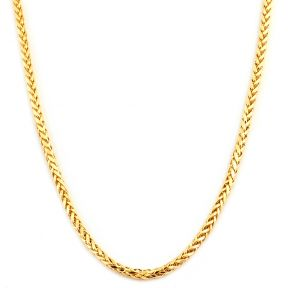 10K Yellow Gold 2.5mm Wheat, Palm Chain Necklace with Lobster Lock