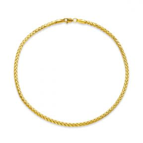 """10k Yellow Gold 2.5mm Palm Wheat Chain Anklet with Lobster Lock (10"""")"""