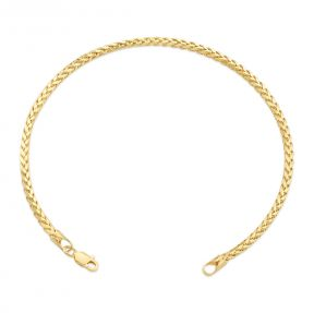"""10k Yellow Gold 2.5mm Open Hollow Palm Wheat Chain Bracelet with Lobster Lock (Available 7"""" - 9"""")"""