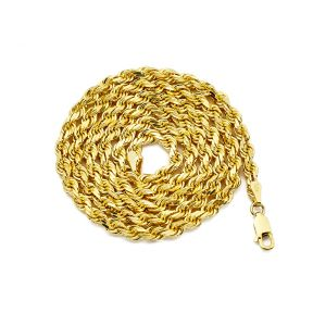 10K Yellow Gold 4mm Solid Diamond Cut Rope Chain Necklace with Lobster Lock