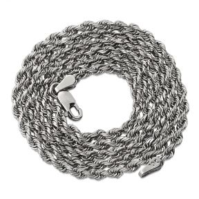 10K White Gold 2.5mm Solid Diamond Cut Rope Chain Necklace with Lobster Lock