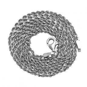 10K White Gold 1.5mm Solid Diamond Cut Rope Chain Necklace with Lobster Lock