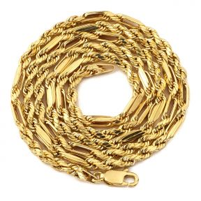 "10K Yellow Gold 3mm Diamond Cut FigaRope Milano Chain Necklace with Lobster Lock (18"" to 30"")"