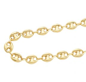 10K Yellow Gold 12mm Hollow Puff Mariner Chain Necklace (Available from 18 - 30 inches)