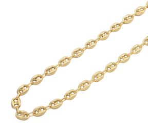 10K Yellow Gold 9mm Hollow Puff Mariner Chain Necklace (Available from 18 - 26 inches)