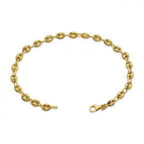 10K Yellow Gold 5mm Hollow Puff Mariner Chain Bracelet (Available from 7-8 inches)