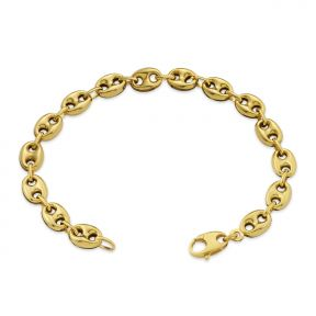 10K Yellow Gold 8mm Hollow Puff Mariner Chain Bracelet (Available from 7-9 inches)
