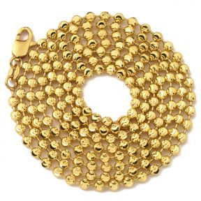 """10K Yellow Gold 2.5mm Italian Moon Cut Bead & Bar Chain Necklace with Lobster Lock (Available in 18"""" to 30"""")"""