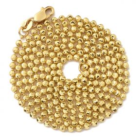 """10K Yellow Gold 2mm Italian Moon Cut Bead & Bar Chain Necklace with Lobster Lock (Available in 18"""" to 30"""")"""