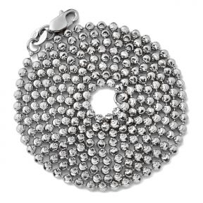 """10K White Gold 2mm Italian Moon Cut Bead & Bar Chain Necklace with Lobster Lock (Available in 18"""" to 30"""")"""