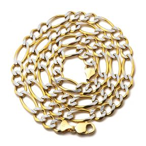 """10K Yellow Gold 12mm Solid Pave Two-Tone Figaro Chain Necklace with Lobster Lock 22"""", 24"""", 26"""", 28"""""""