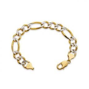 "10k Yellow Gold 12mm Solid Two-Tone Diamond Cut w/ White Pave Figaro Chain Bracelet w/ Lobster Lock (8.5"", 9"")"