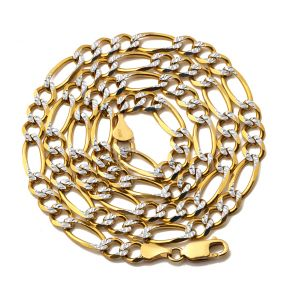 "10K Yellow Gold 6.5mm Solid Pave Two-Tone Figaro Chain Necklace with Lobster Lock 20"", 22"", 24"", 26"", 28"""