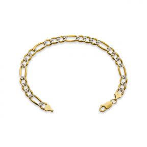 "10k Yellow Gold 6.5mm Solid Two-Tone Diamond Cut w/ White Pave Figaro Chain Bracelet w/ Lobster Lock (7"", 8"", 9"")"