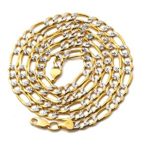 10K Yellow Gold 5.5mm Solid Pave Two-Tone Figaro Chain Necklace with Lobster Lock