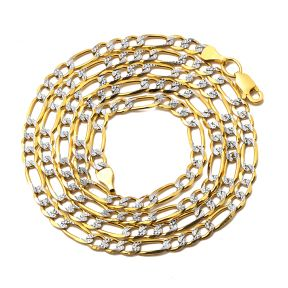 "10K Yellow Gold 4.5mm Solid Pave Two-Tone Figaro Chain Necklace with Lobster Lock 20"", 22"", 24"", 26"", 28"""