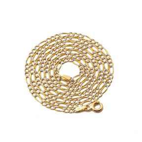 "10K Yellow Gold 2mm Solid Pave Two-Tone Figaro Chain Necklace with Spring Lock 18"", 20"", 22"", 24"", 26"""
