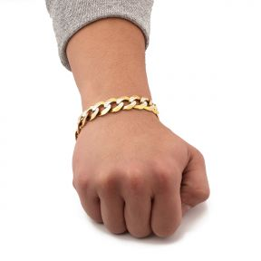 10K Yellow Gold Solid Pave Curb Chain Bracelet  (7mm - 14mm)