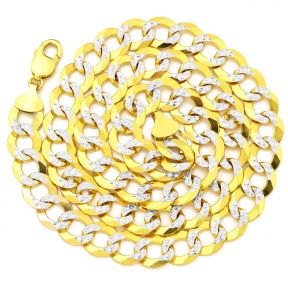 "10K Yellow Gold 13mm Solid Pave Two-Tone Curb Chain Necklace with White Gold Pave Diamond Cut, with Lobster Lock (18"" to 30"")"