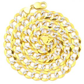 "10K Yellow Gold 12mm Solid Pave Two-Tone Curb Chain Necklace with White Gold Pave Diamond Cut, with Lobster Lock (18"" to 30"")"