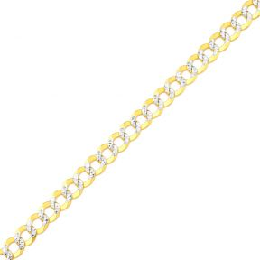"""10K Yellow Gold Solid Pave Curb Chain Bracelet  (7mm, 9"""")"""