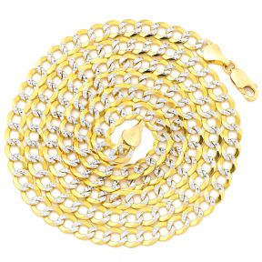 "10K Yellow Gold 5.5mm Solid Pave Two-Tone Curb Chain Necklace with White Gold Pave Diamond Cut, with Lobster Lock (18"" to 30"")"