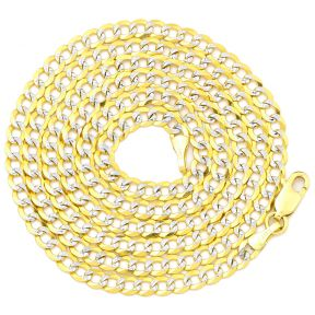 "10K Yellow Gold 3.5mm Solid Pave Two-Tone Curb Chain Necklace with White Gold Pave Diamond Cut, with Lobster Lock (18"" to 30"")"