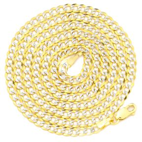 "10K Yellow Gold 3mm Solid Pave Two-Tone Curb Chain Necklace with White Gold Pave Diamond Cut, with Lobster Lock (18"" to 30"")"