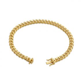 14K Yellow Gold Solid Miami Cuban Bracelet with Lobster Lock