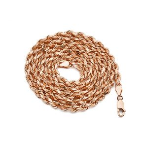 10K Rose Gold 5mm Solid Diamond Cut Rope Chain Necklace with Lobster Lock (Available in 20'' - 30'')