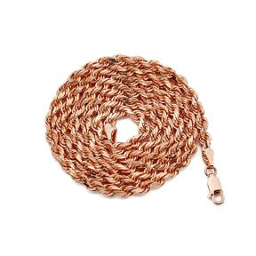 10K Rose Gold 4mm Solid Diamond Cut Rope Chain Necklace with Lobster Lock (Available in 18'' - 28'')