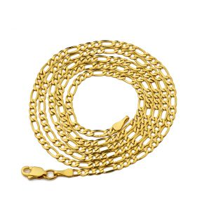 10K Yellow Gold 2.5mm Solid Figaro Chain Necklace, Available in 16 to 24 inches