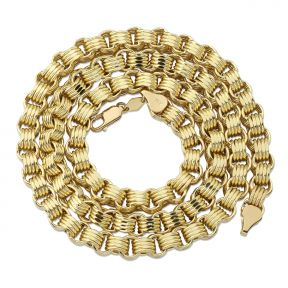 10K Yellow Gold 7.5mm Fancy Belcher Double Rolo Chain Necklace (Available from 22-28 inches)