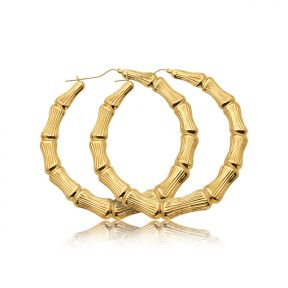 "10k Yellow Gold Bamboo Hoop Earrings (2.90"")"