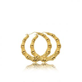 "10k Yellow Gold Bamboo Hoop Earrings (2.06"")"
