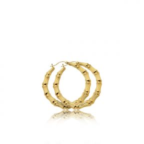 "10k Yellow Gold Bamboo Hoop Earrings (1.63"")"