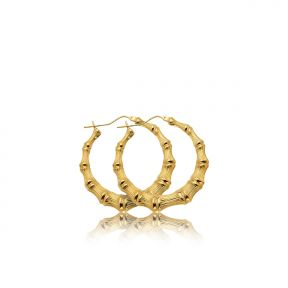 "10k Yellow Gold Bamboo Hoop Earrings (1.40"")"