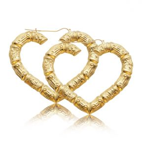 "10k Yellow Gold Heart Shaped Bamboo Hoop Pair of Earrings (2.90"" x 2.40"")"